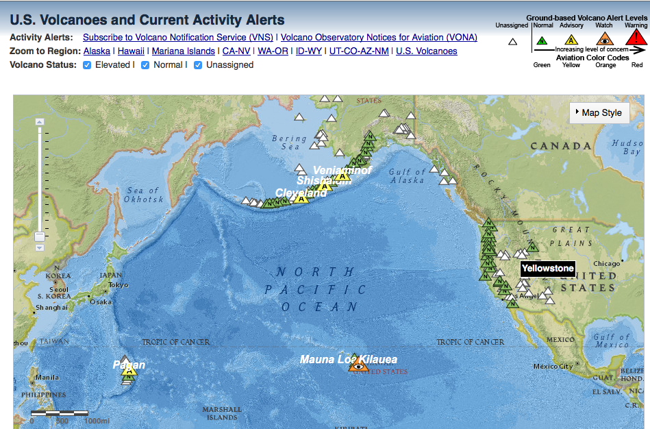 Mitigation And Adaptation Research Institute Mari - Active-volcanoes-in-the-us-map